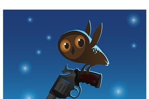 Little cute owl stole the big gun