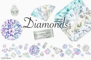 Diamonds - Watercolor Elements