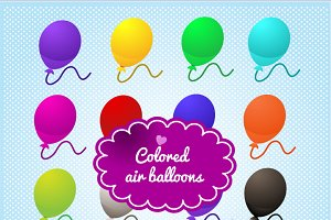Colored balloons on blue