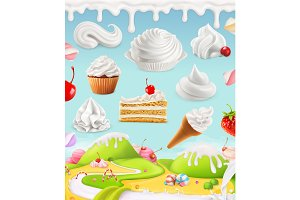 Sweets with whipped cream, vector