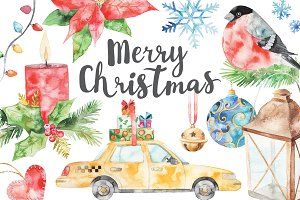 watercolor Merry Christmas set 2