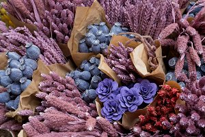 colorful bouquets of dried flowers