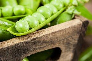 Fresh ripe green peas