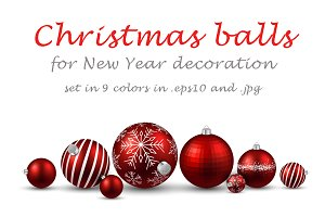 Christmas balls set in 9 colors