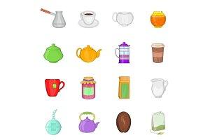 Tea and coffee set, cartoon style