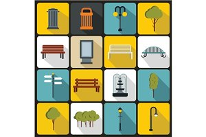 Park icons set, flat ctyle