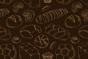 Bakery and pastry products pattern