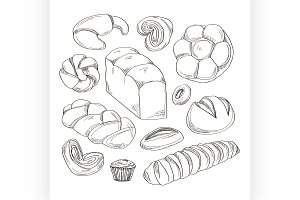 Bakery and pastry products icons set