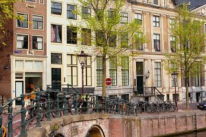 Bridge and Houses in Amsterdam