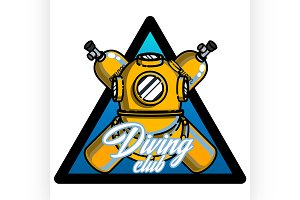 Color vintage diving emblem