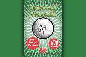Color vintage golf poster