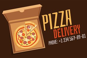 Pizza delivery icons isolated vector