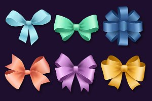 Ribbons set Christmas gifts vector
