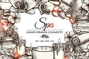 Spa hand drawn vector set