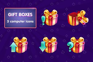 Set of colorful gift boxes. Vector.