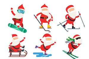 Vector extreme Santa winter sport