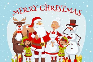 Claus kids family vector card