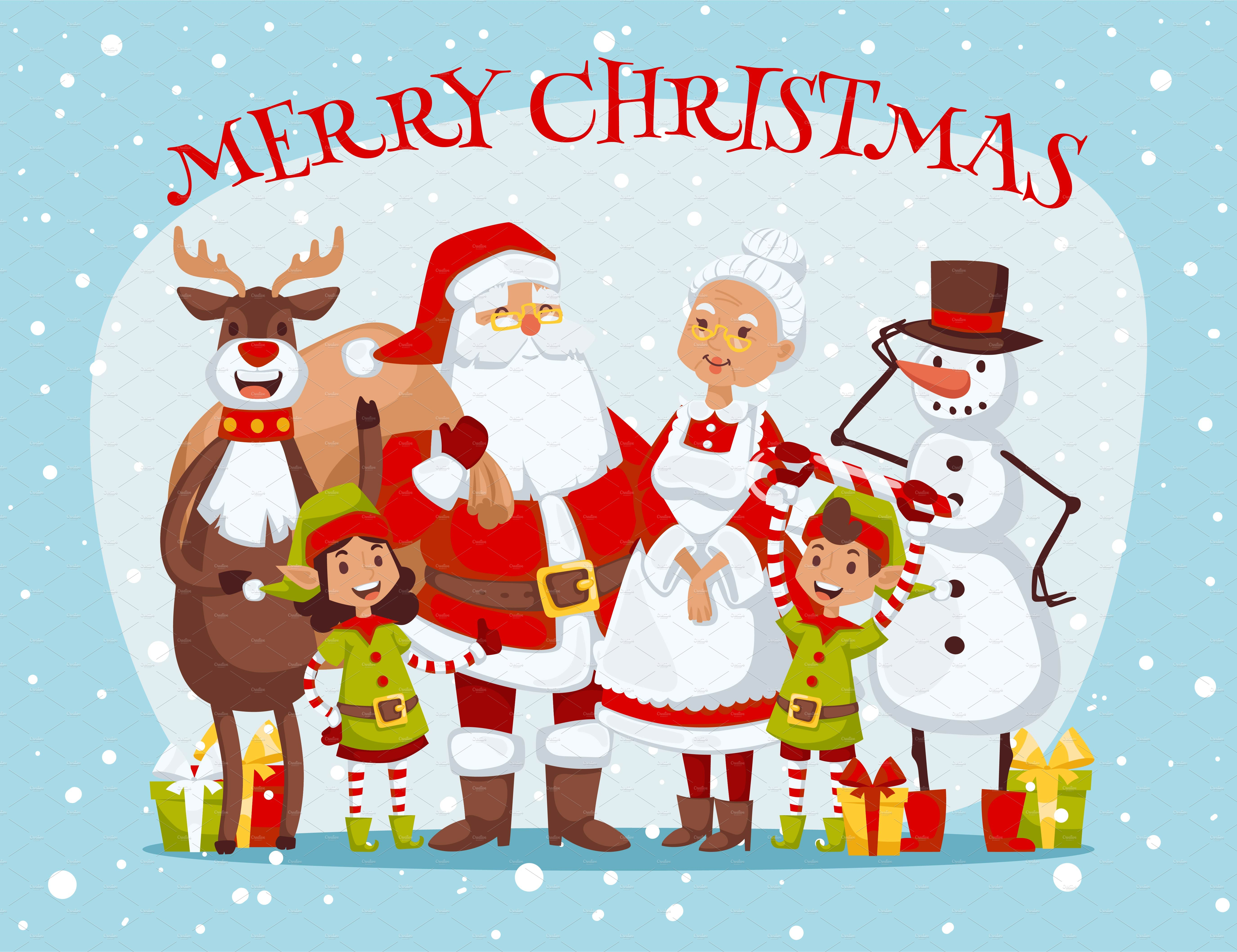 Claus kids family vector card ~ Graphics ~ Creative Market