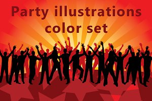 Party illustrations color set