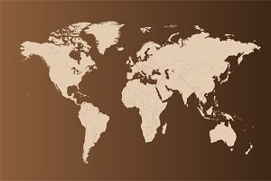 World map flat with borders