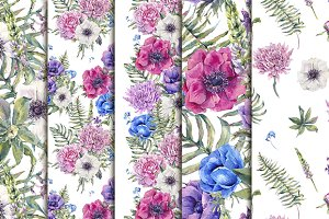 Hydrangeas&Anemones seamless pattern