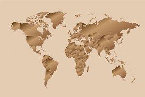 World map metallic with borders