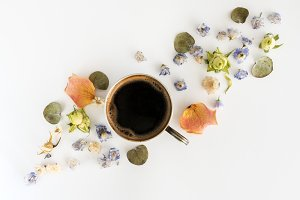 Cup of coffee and dry flovwers at white background. Flat lay, top view