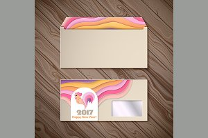 Year of rooster design for envelope