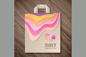 Year of rooster design for paper bag