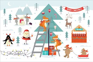 christmas scene vector/illustration