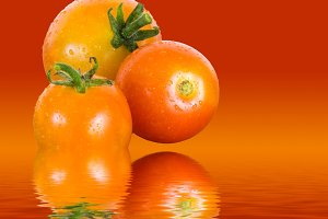 Tomatoes reflected in pure water