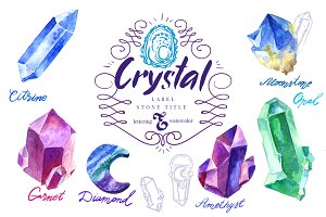 Watercolor Crystals with lettering