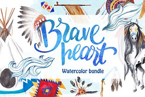 Brave heart - watercolor bundle