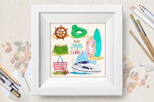 Set of Summer holidays illustrations