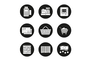 Supermarket. 9 icons set. Vector