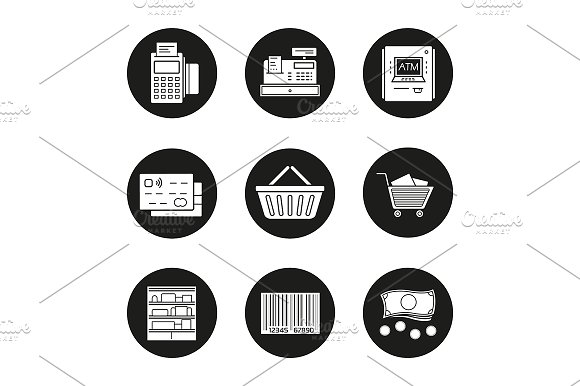 Supermarket. 9 icons set. Vector - Icons