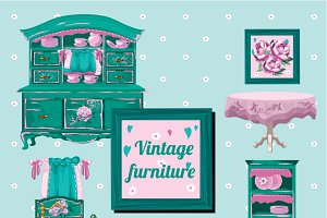 Vintage doll furniture