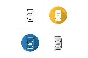 Beer can. 4 icons. Vector
