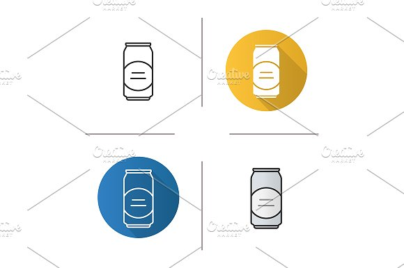 Beer can. 4 icons. Vector - Icons