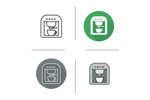 Espresso machine. 4 icons. Vector