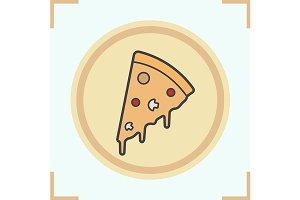 Pizza slice on plate icon. Vector