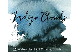 Indigo Watercolor Background Set