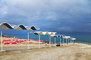 Red beach umbrellas