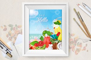 Poster with ice cream and fruit