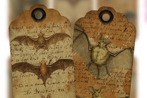 Creepy Bats Tags - PDF & PNG