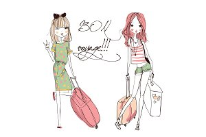 Vector fashion girls with suitcases