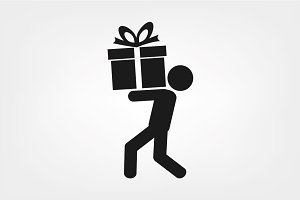 man and gift icon vector