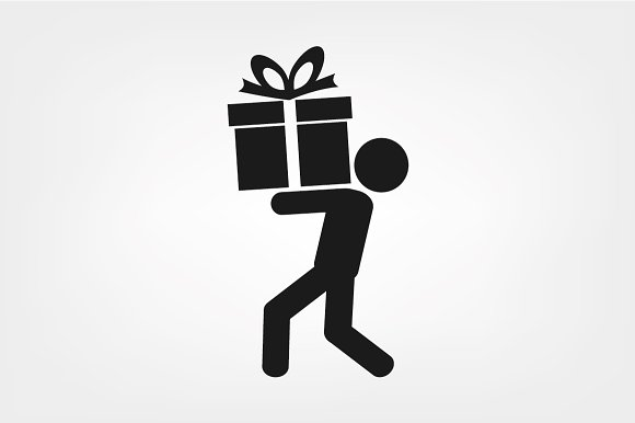 Man and gift icon vector icons creative market negle Image collections