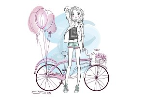 cute summer bicycle girl