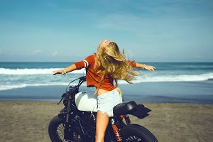 woman in motorcycle